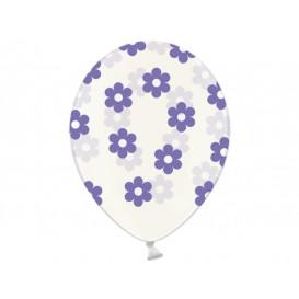 Balony przezroczyste w fioletowe kwiatki